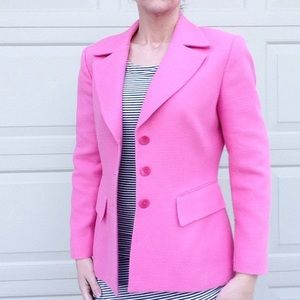 SAKS FIFTH AVENUE pink woven summer blazer S 4 6